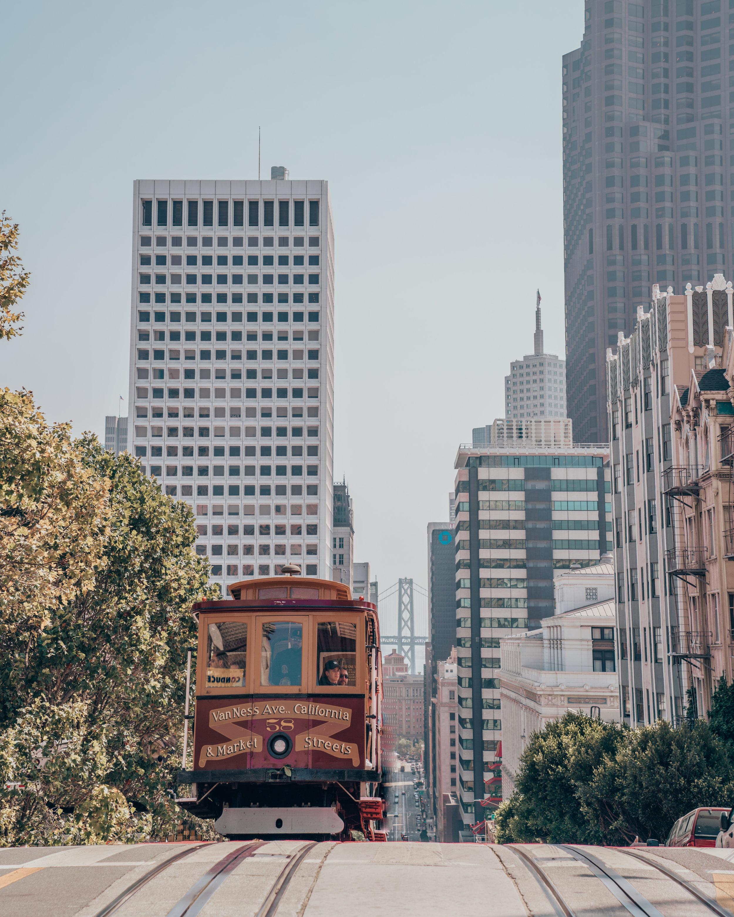 Cable Car, Bay Bridge, Nob Hill, San Francisco, California