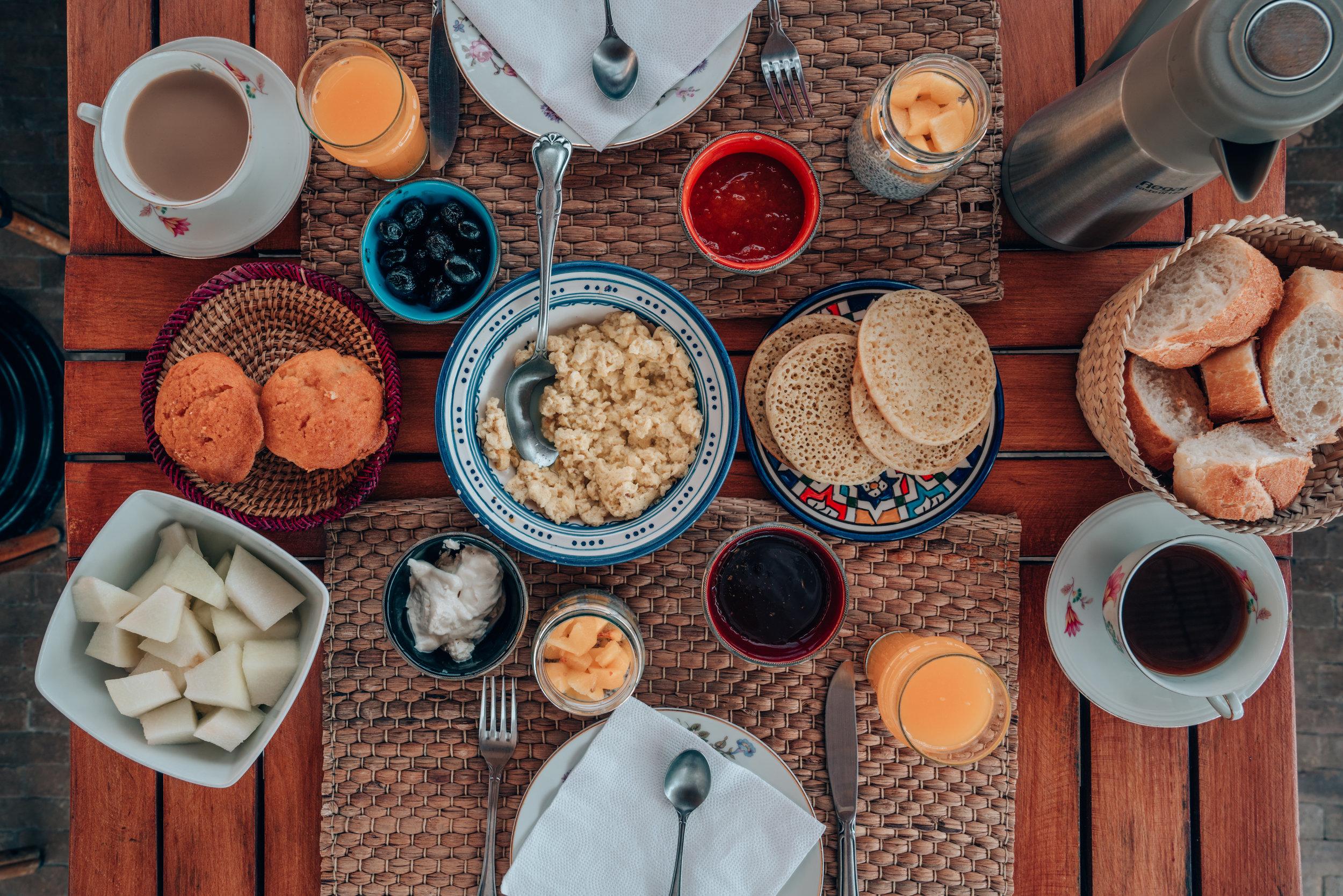 Riad Anata Breakfast Spread in Fes, Morocco