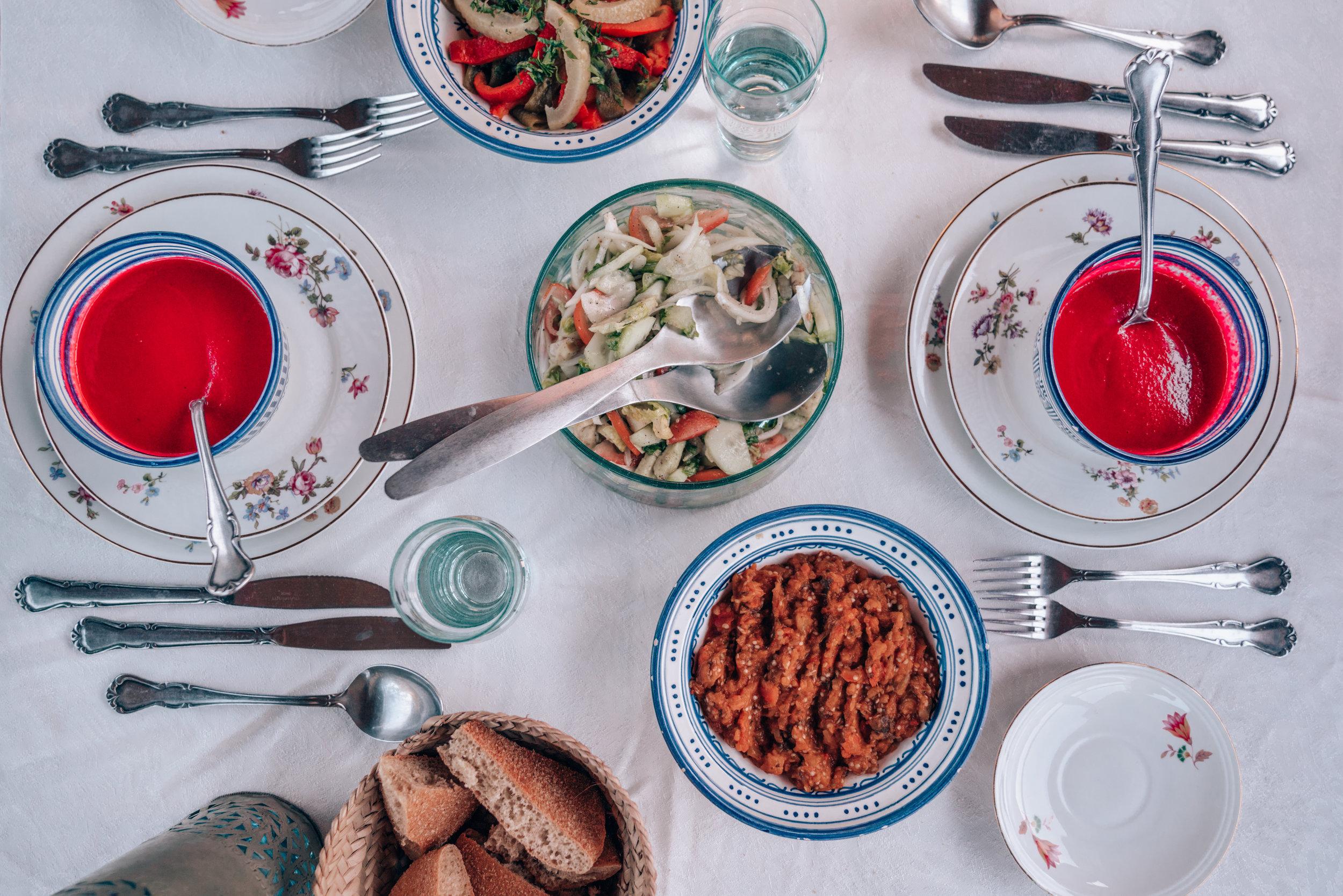 Riad Anata Dinner Spread in Fes, Morocco