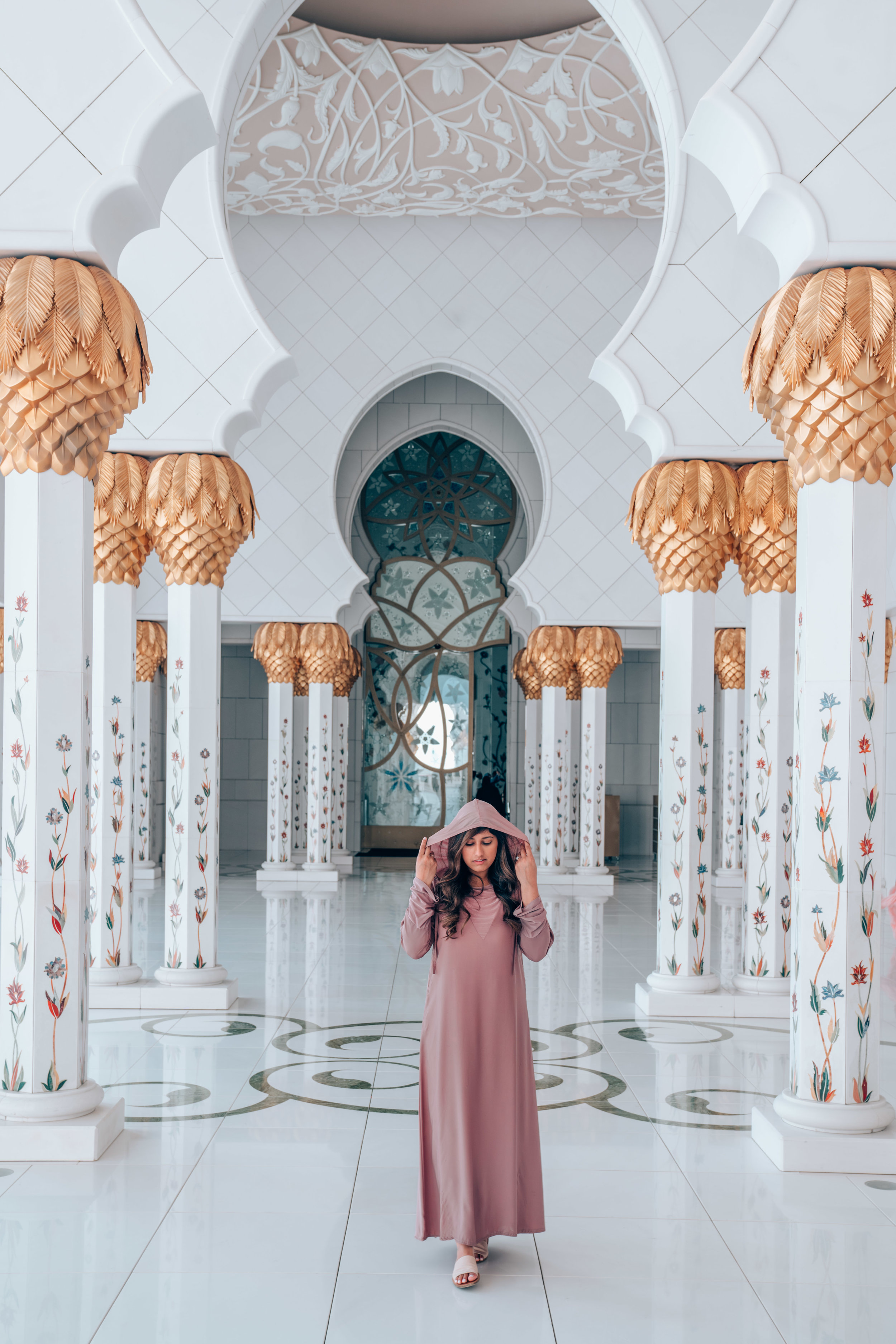 Wearing a traditional Abaya at the Sheikh Zayed Mosque in Abu Dhabi, UAE