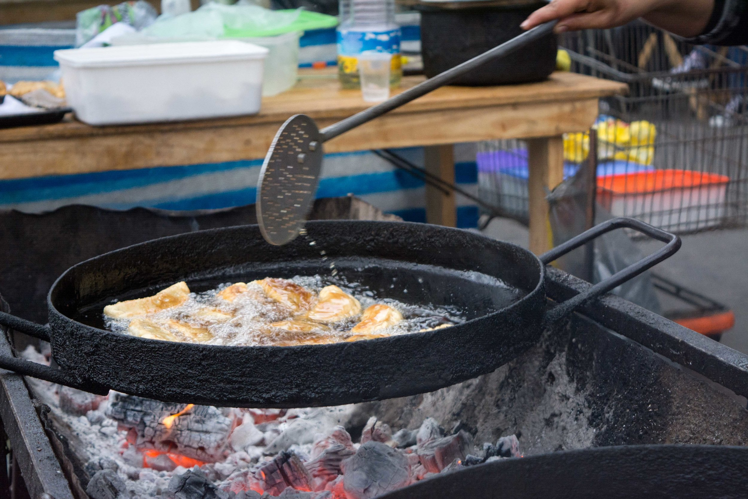 Freshly deep fried empanadas
