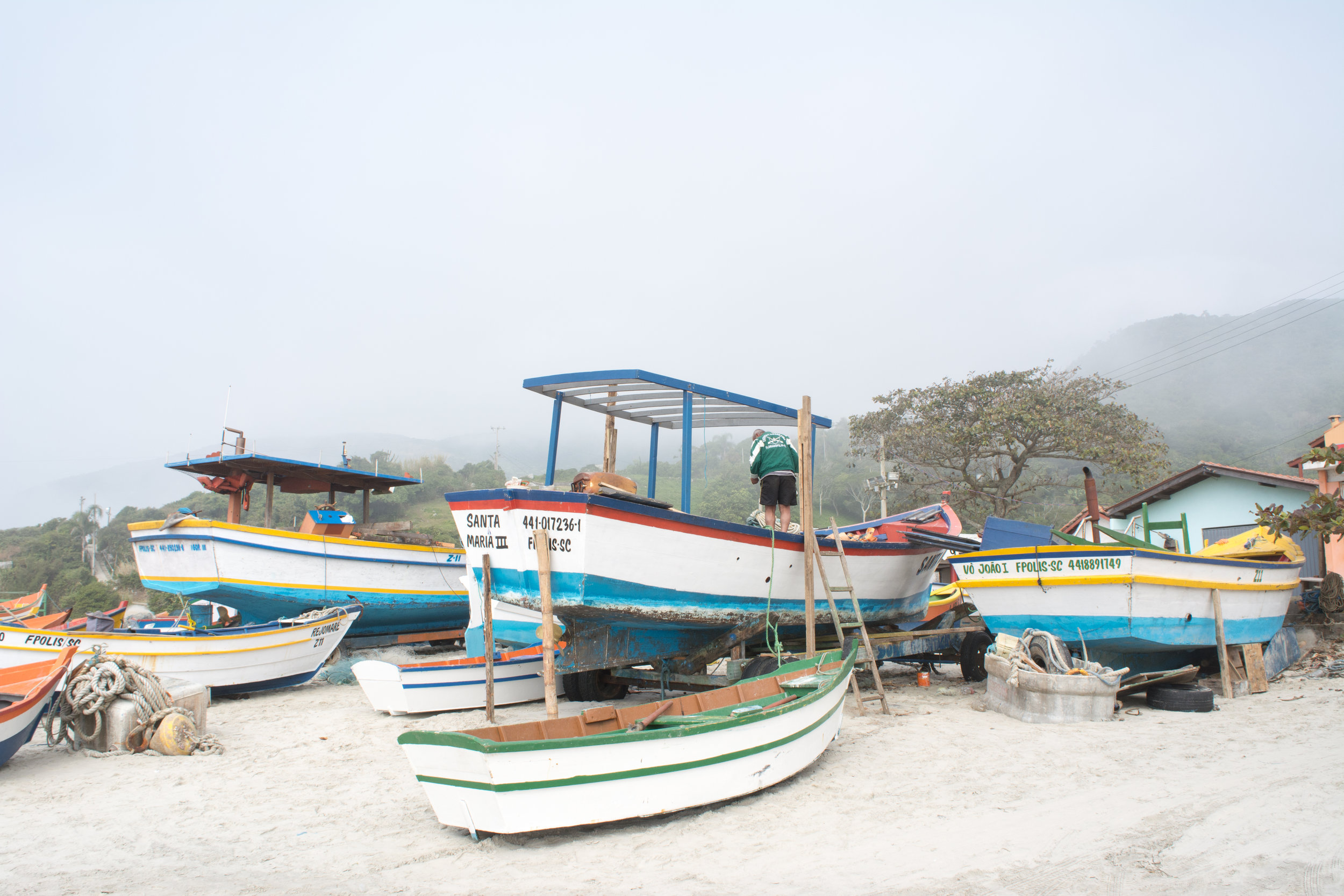 The fishing boats provided a burst of colour.