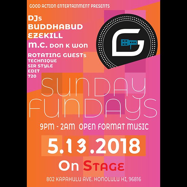 Got Some New New Goin' Down Sundays At @onstage808!!! Kicking Off Sunday Fundays Tonight With Da @goodactionme Squad Supplying Da Happy Mother's Day Soundtrack!!! 21+ x No Cover!!! Then Next Week, @goldawn808 x Fam With Be Hosting Da Very First #HawaiiHipHopHonors Showing Appreciation To Some Of Our Communities Emcees, Writers, Deejays & B-Boys Along With Special Performances!!! Tix On Sale Now With Limited Capacity But For More Info. Or If You Wanna Get Down, Hit Up @goldawn808!!!