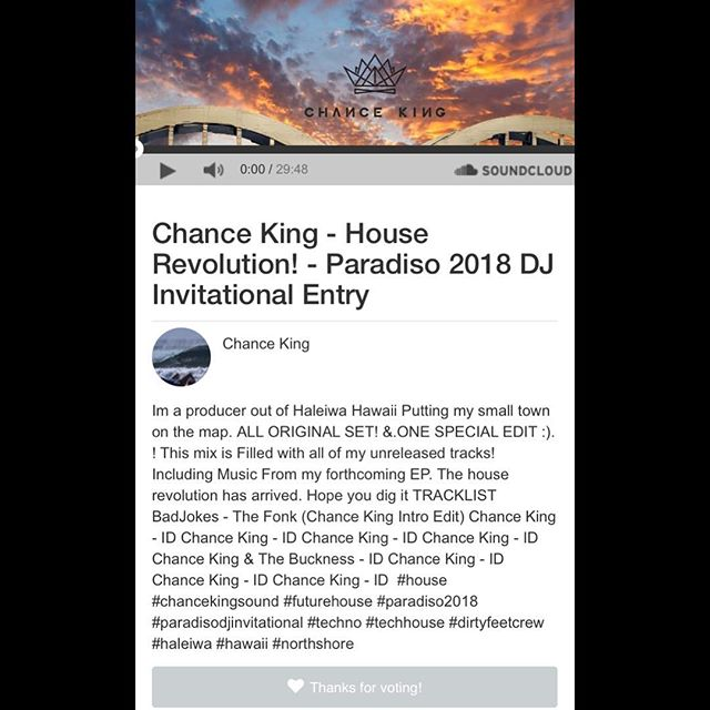 Let's Get Hawaii's Very Own @chancekingmusic A Set On Da @paradiso_usc Main Stage Dis Summer!!! He's Just Votes Away From Securing Da #1 Spot!!! To Support, Click Da Link In His Bio.!!! @wonderlandhawaii x @dirtyfeetcrew!!!