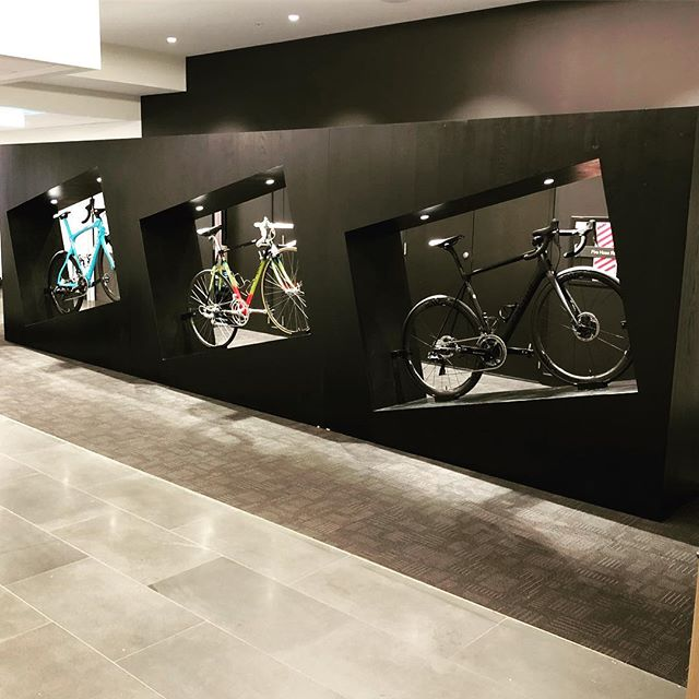 Bicycle display at Rydges hotel for Wellington airport. Made from solid oak, stained black. Featuring a few Tour de France bicycles.