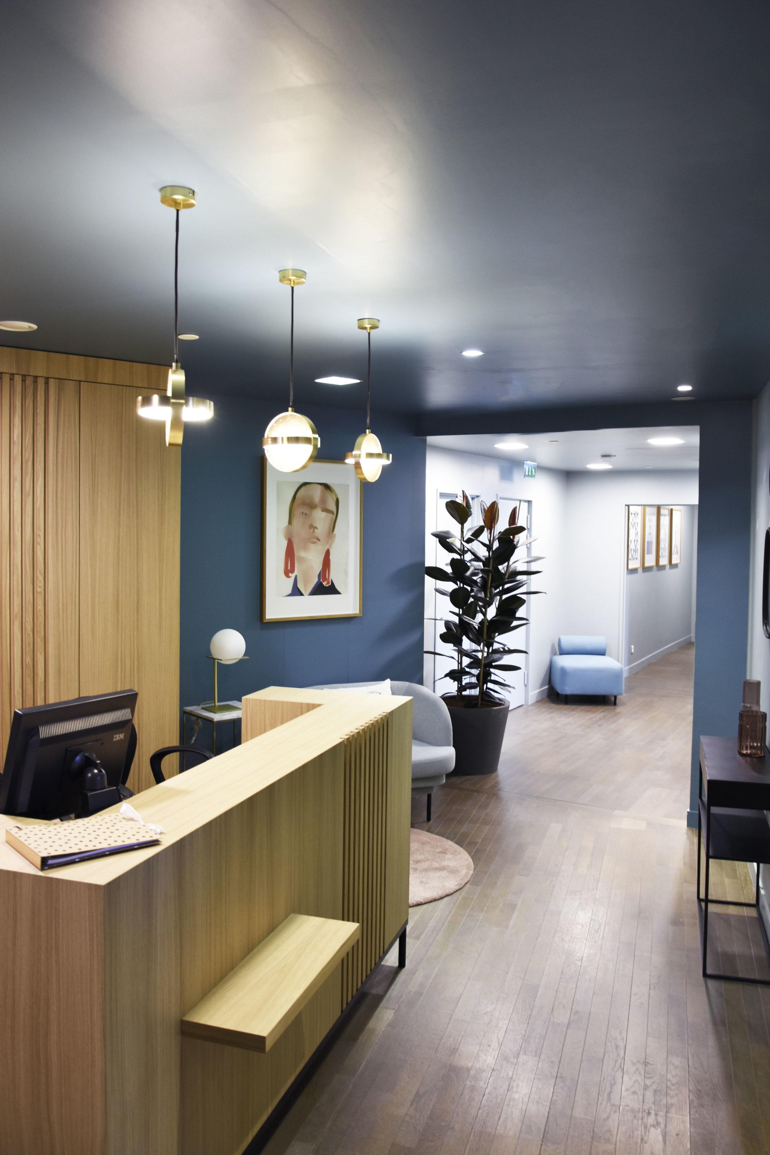GALERIE LAFAYETTE espace client premium / PLUS pendant lamp, BOVARI pouf, GIN lamp