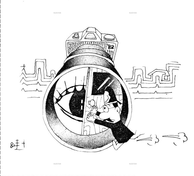 A political cartoon illustrating a column on the subject of cameras and the public, written in 1982.