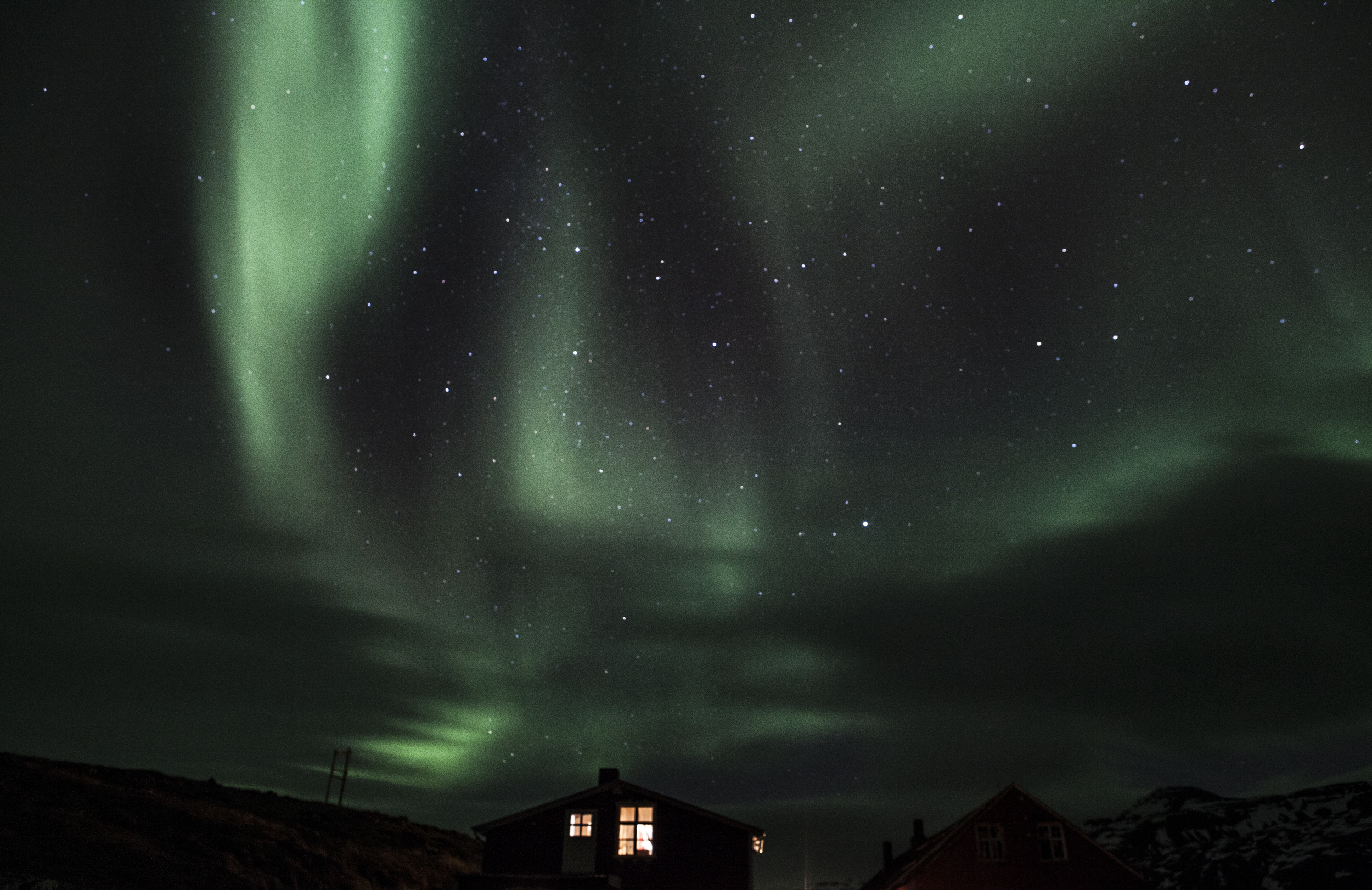Northern lights outside the cabin we were staying in