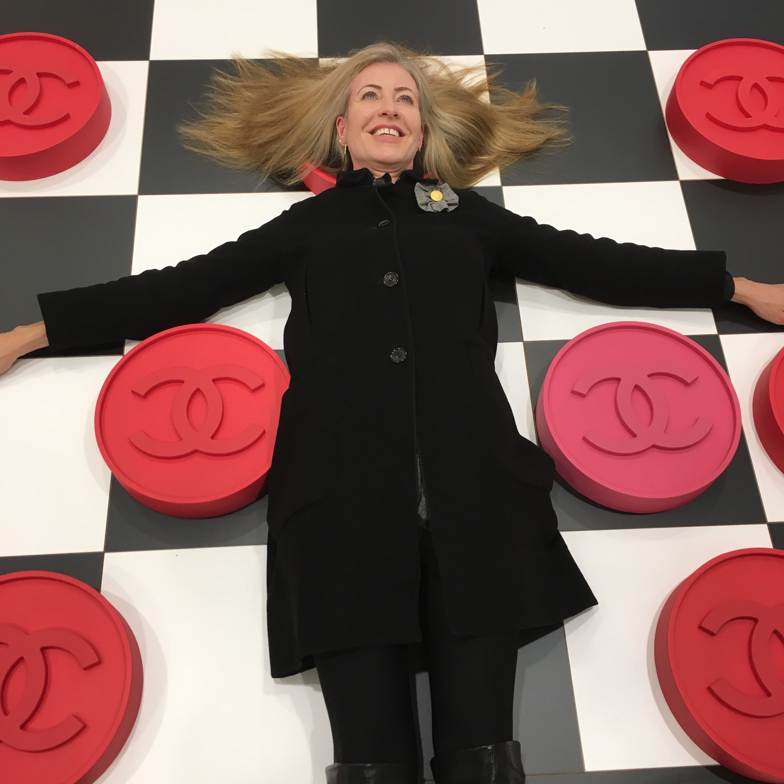 Couldn't resist playing around with the giant Chanel checkerboard at the launch