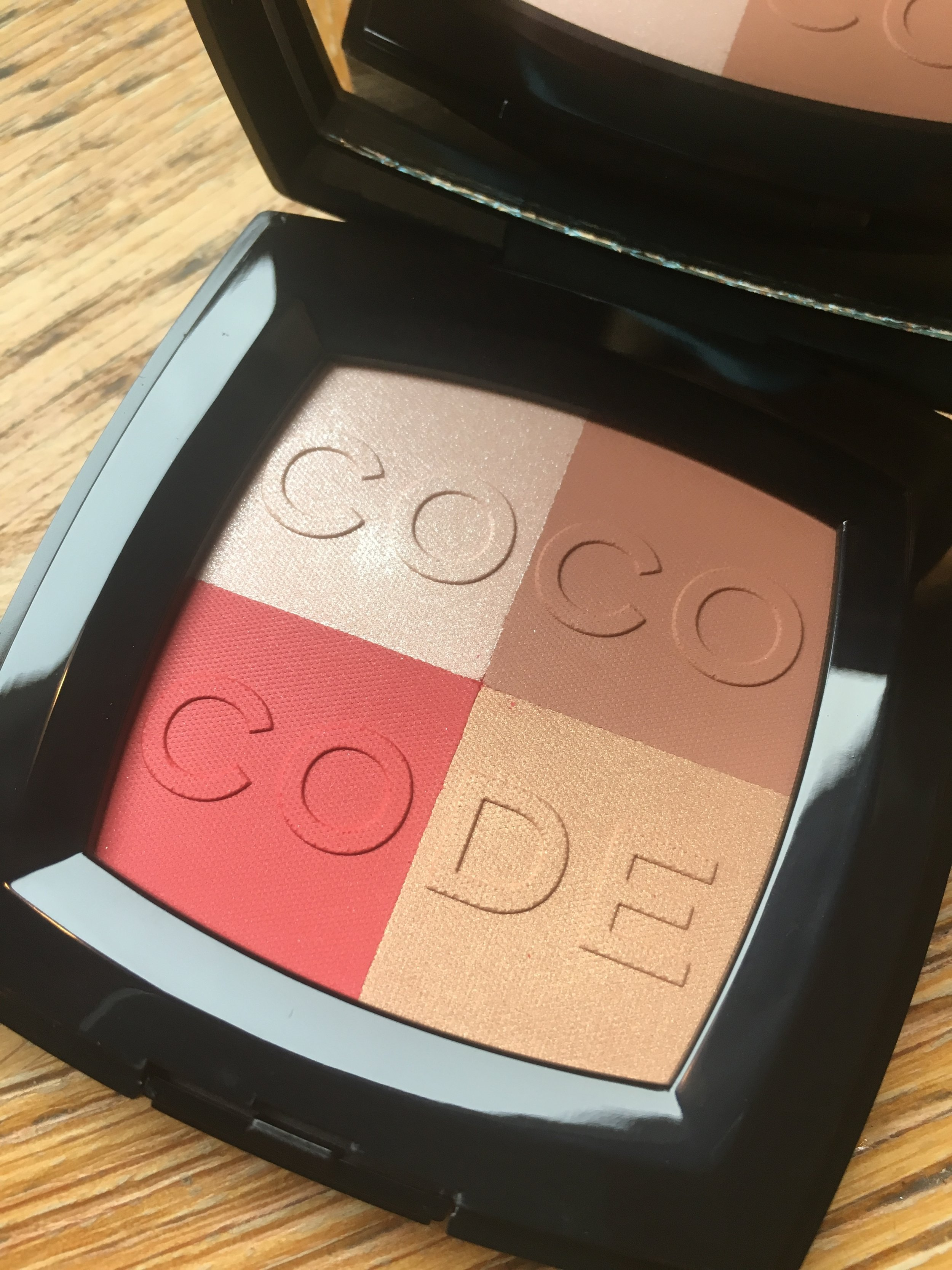 The Coco Code palette - use the colours singly, or swirl together as blusher