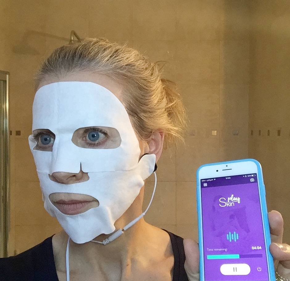 Hooked up to the plug-and-play smartphone facemask. Do I look a bit freaked?