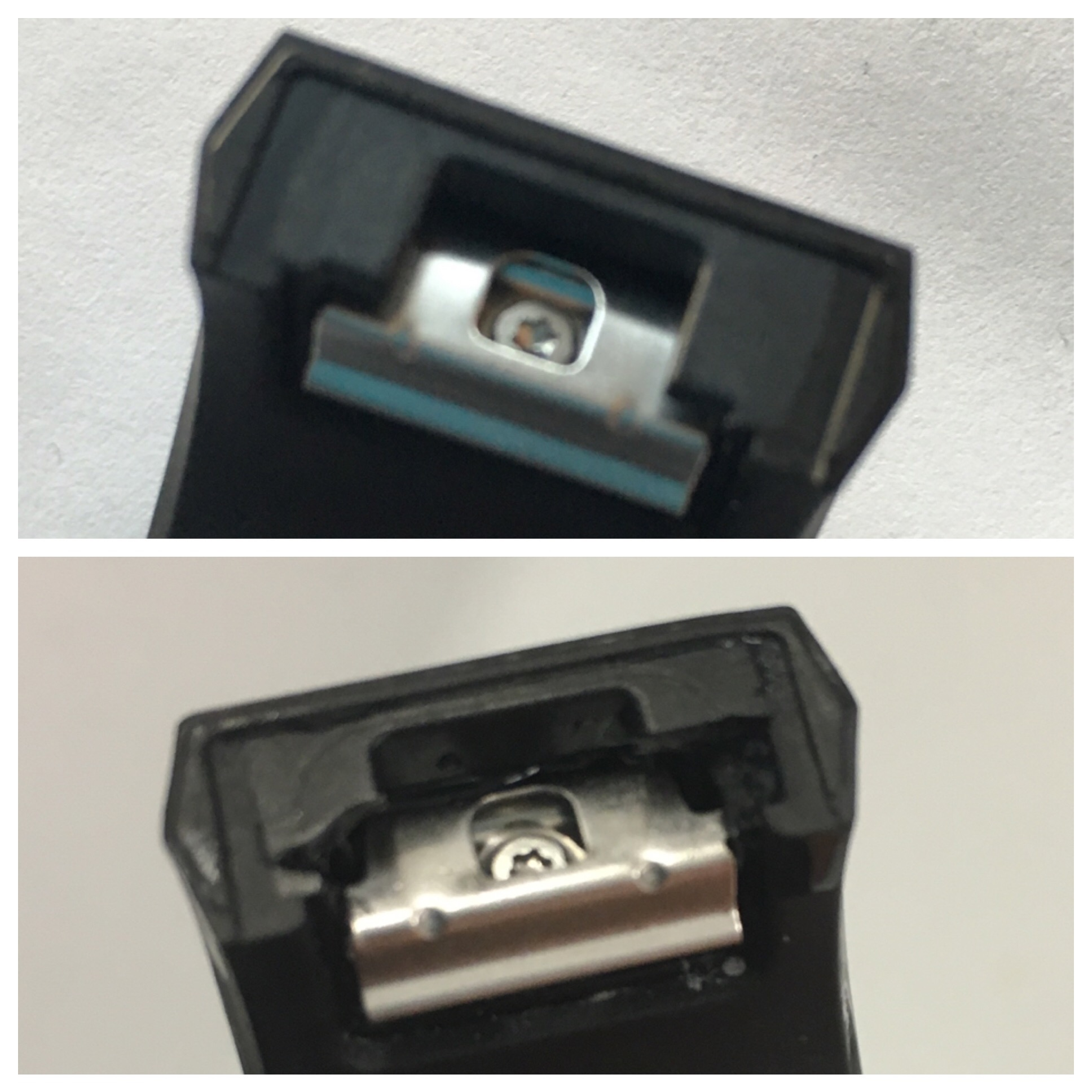 No 5 before and after - on the lower pic, you can see a tiny bit has broken on the left-hand side of the holder.