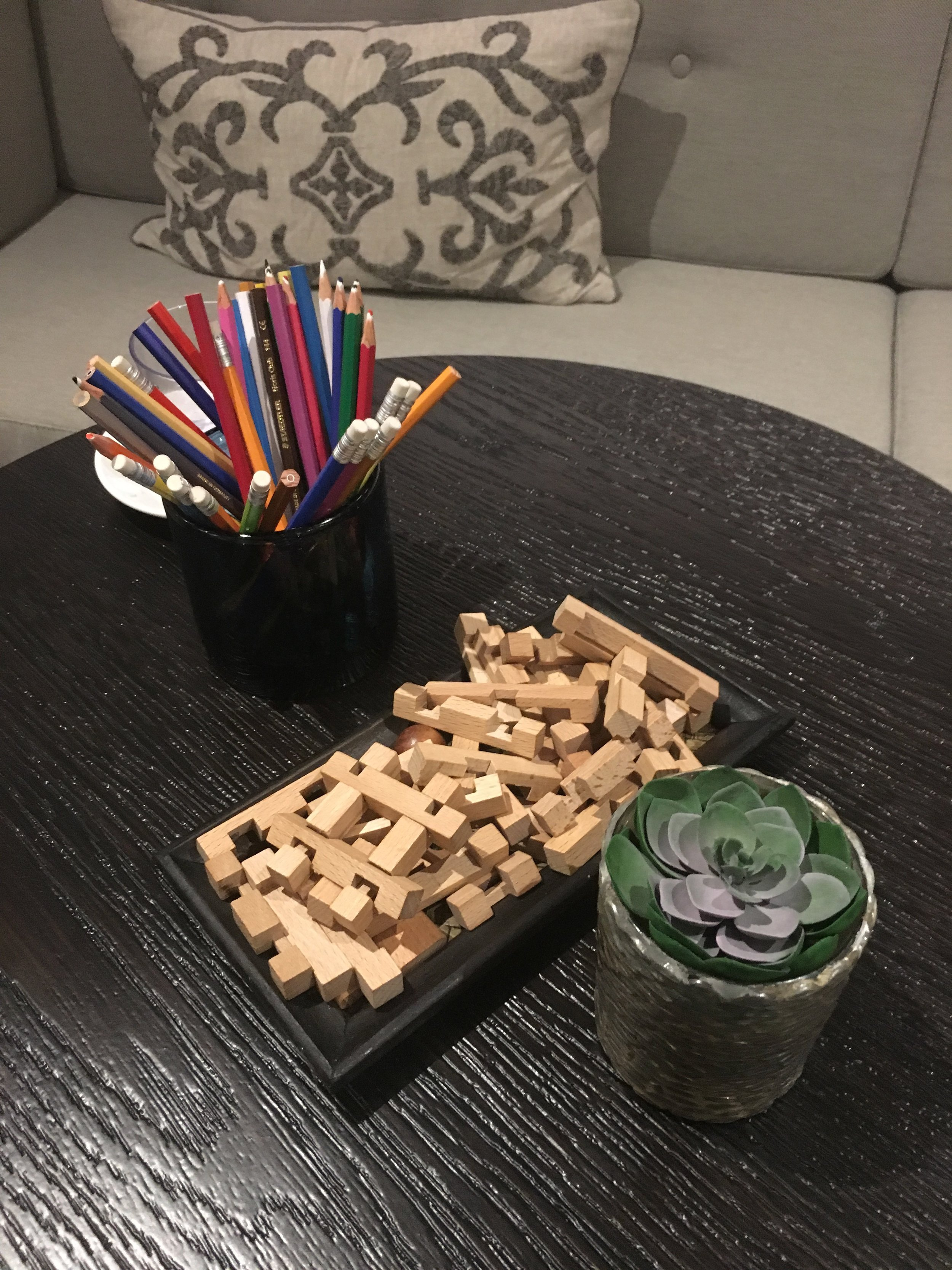 Pencils and puzzles in the 'mind' relaxation area of the spa at Rudding Park