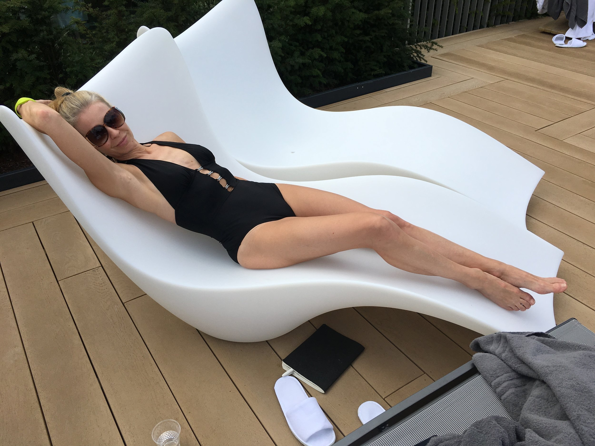 Me taking it easy in a futuristic-yet-retro lounger at Rudding Park Spa