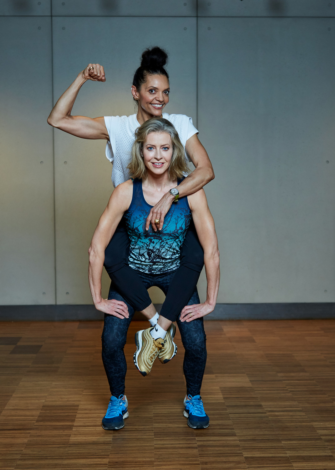 Working out with Efua Baker, photograph by Chris McAndrew at KXU. And yes my smile does look a bit strained!!