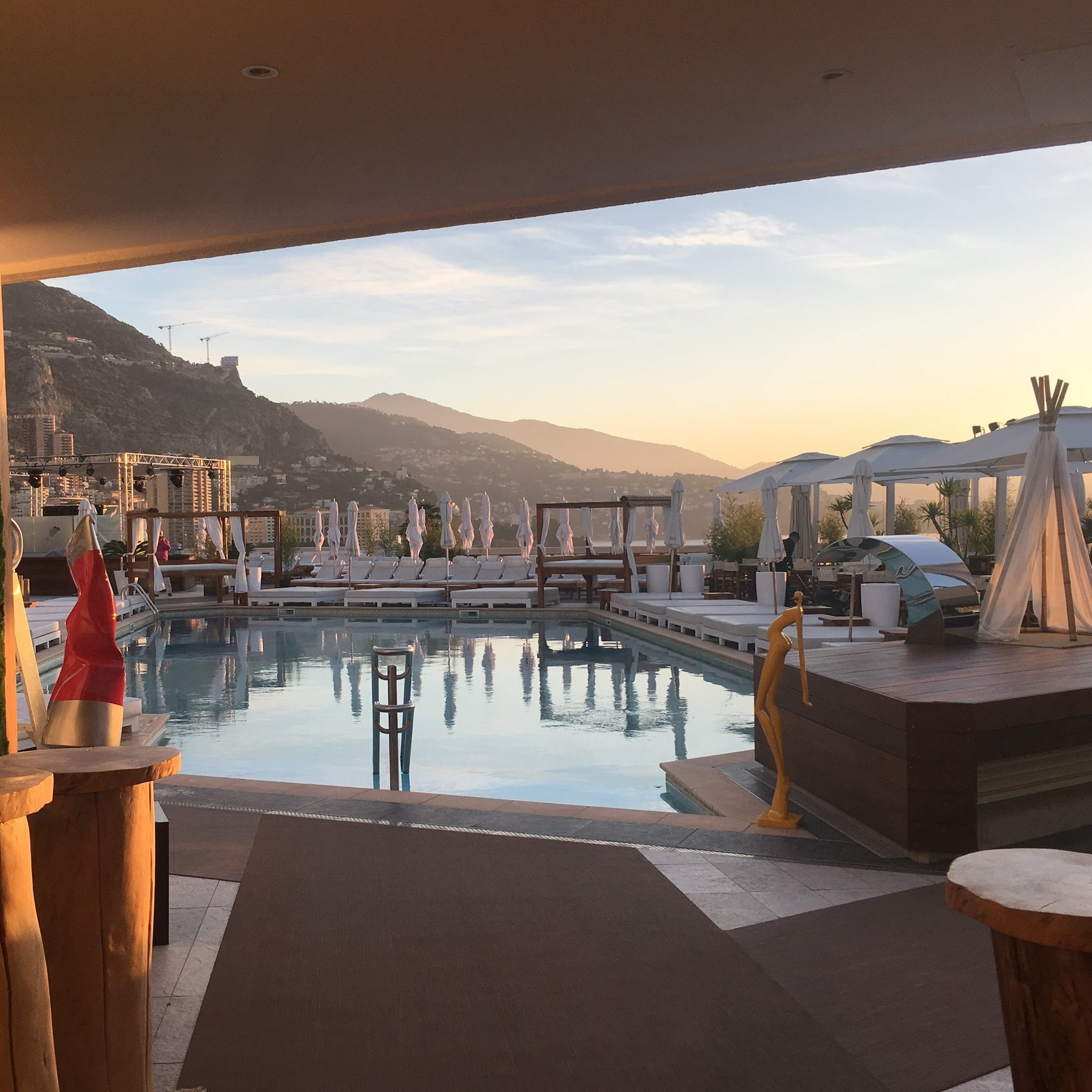 Nikki Beach at the Fairmont, Monte Carlo, at sunrise (and no I hadn't stayed up all night, I'd got up early to use the gym).