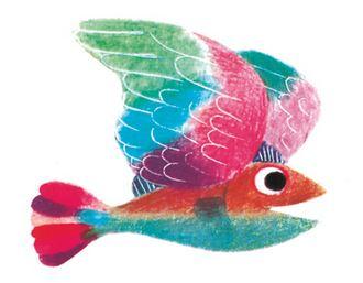 """""""Ein Vogel!"""", denkt der kleine Fisch glücklich."""