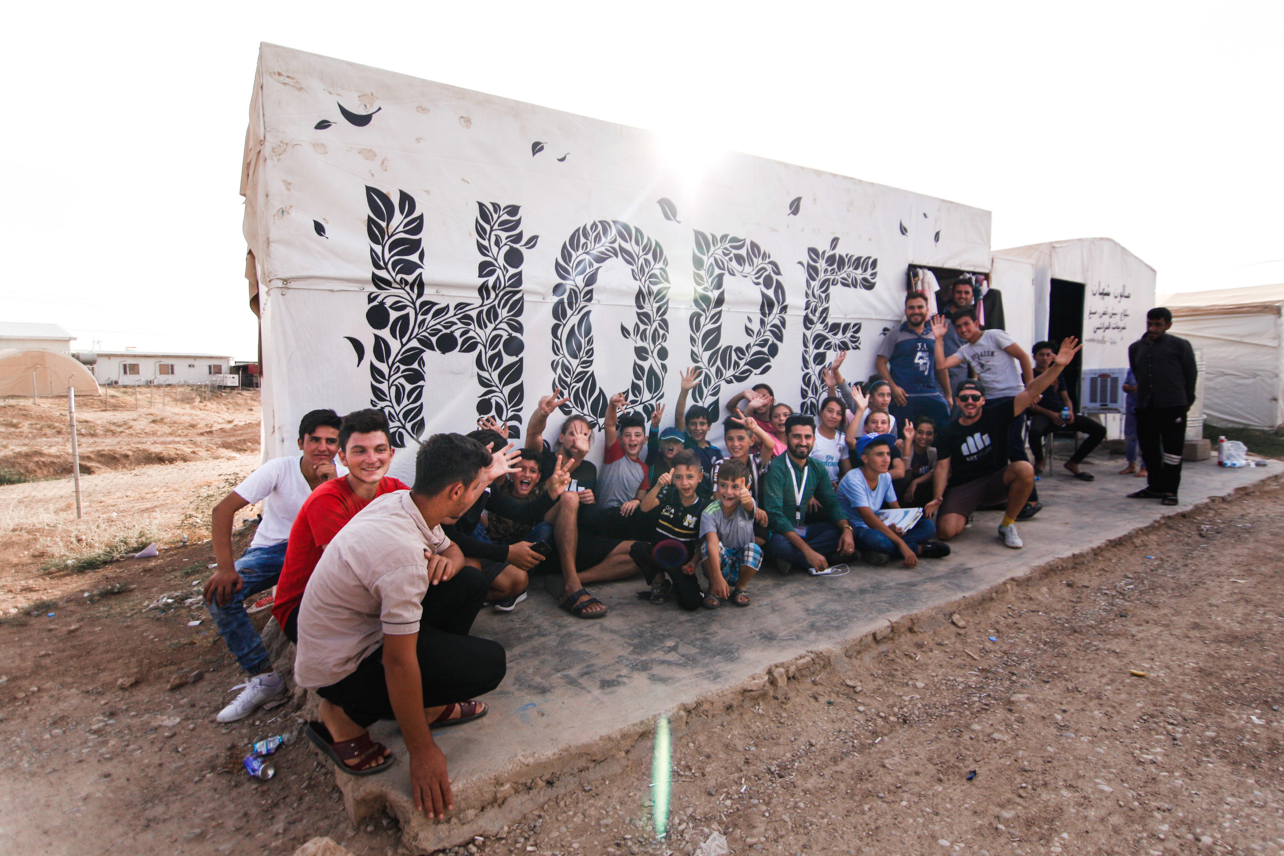 In Partnership with:  ARTHELPS  - Project:  REFUGEE CAMP MURAL, IRAQ