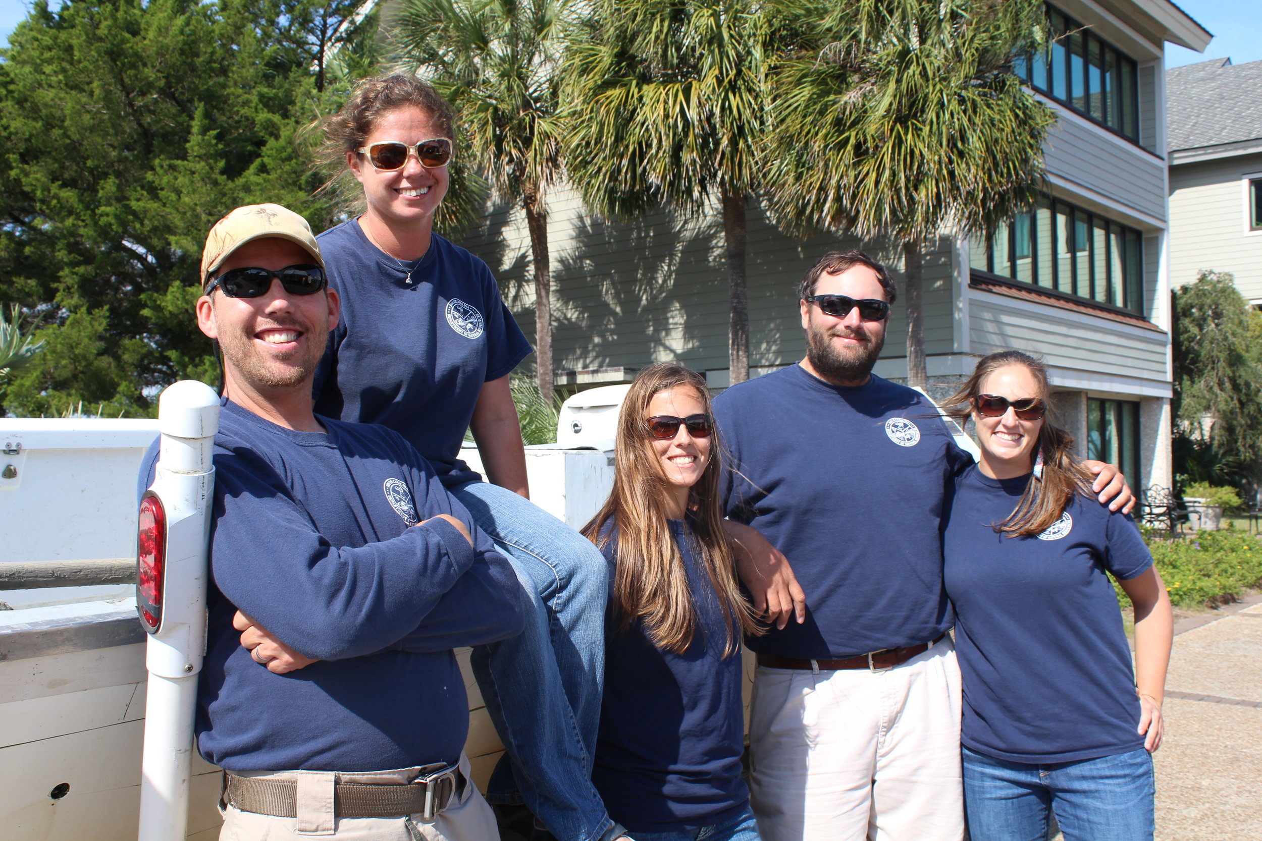 Current and former members of the inshore fisheries lab with one of their trammel net boats: (L-R) Henry Davega, Michelle Taliercio, Liz Vinyard, Jonathan Tucker, and Ashley Shaw. (Photo: E. Weeks/SCDNR)
