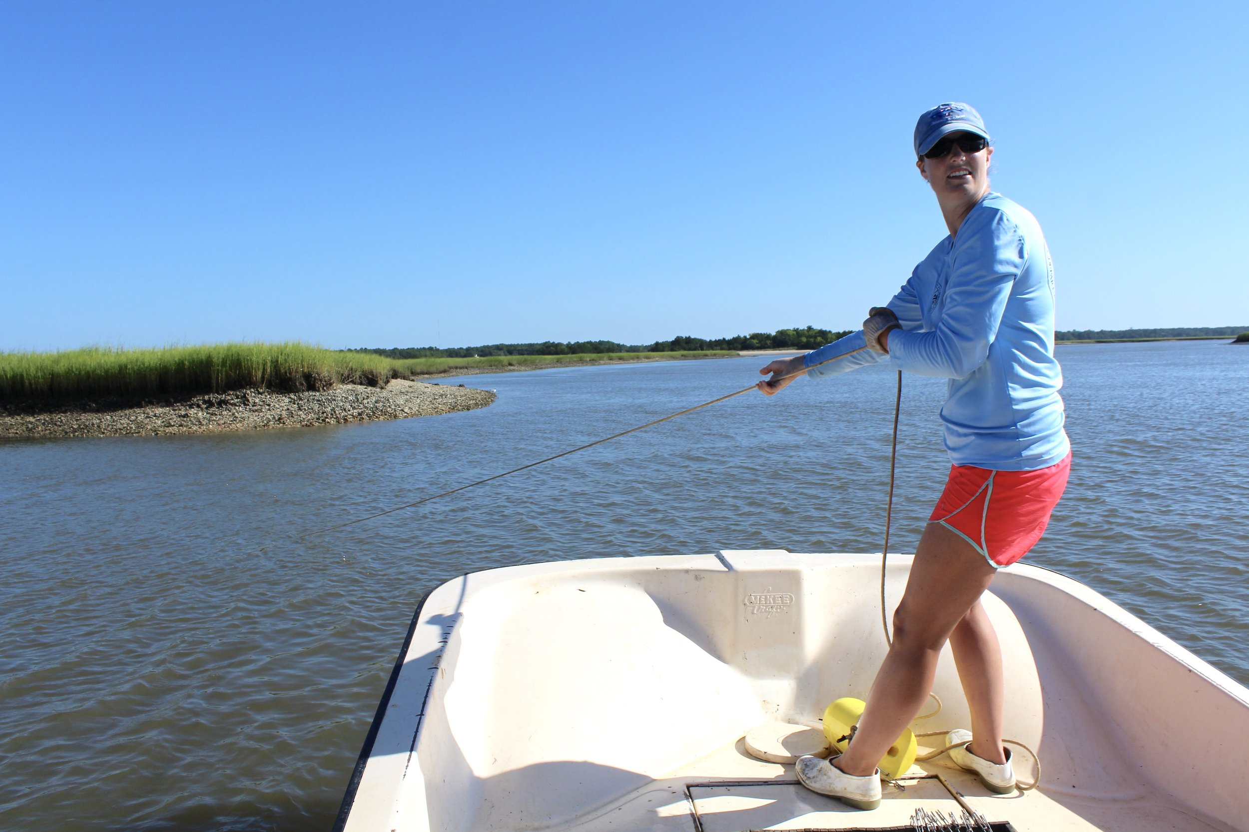Ashley Shaw wears cut-off shrimp boots in this shot of a hot, July day of shark sampling in the Cape Romain National Wildlife Refuge. The white helps deflect light, but full rubber boots still get uncomfortably hot in the summer. (Photo: E. Weeks/SCDNR)