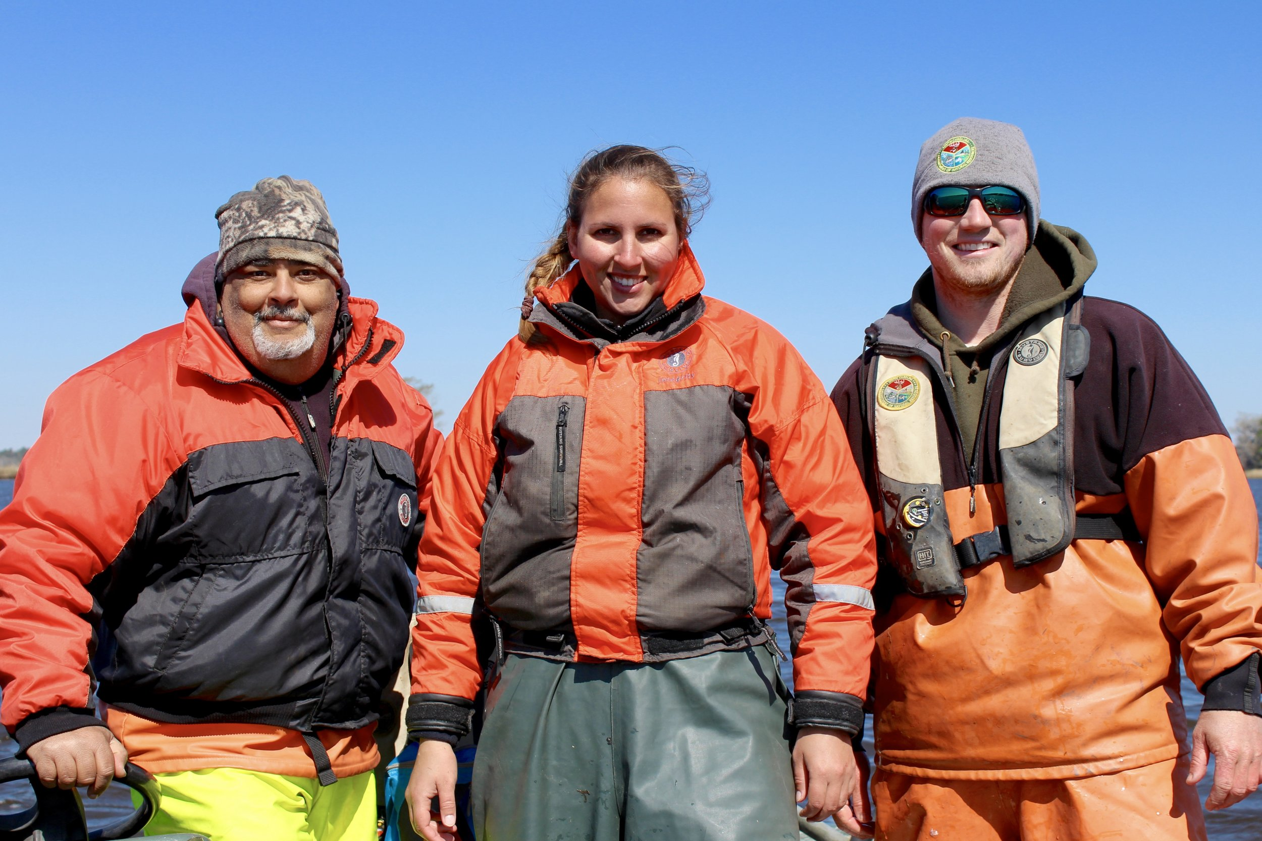 SCDNR's Allan Hazel, Kayla Rudnay, and Andrew Watson after a freezing day on the Waccamaw River (Photo: E. Weeks/SCDNR)