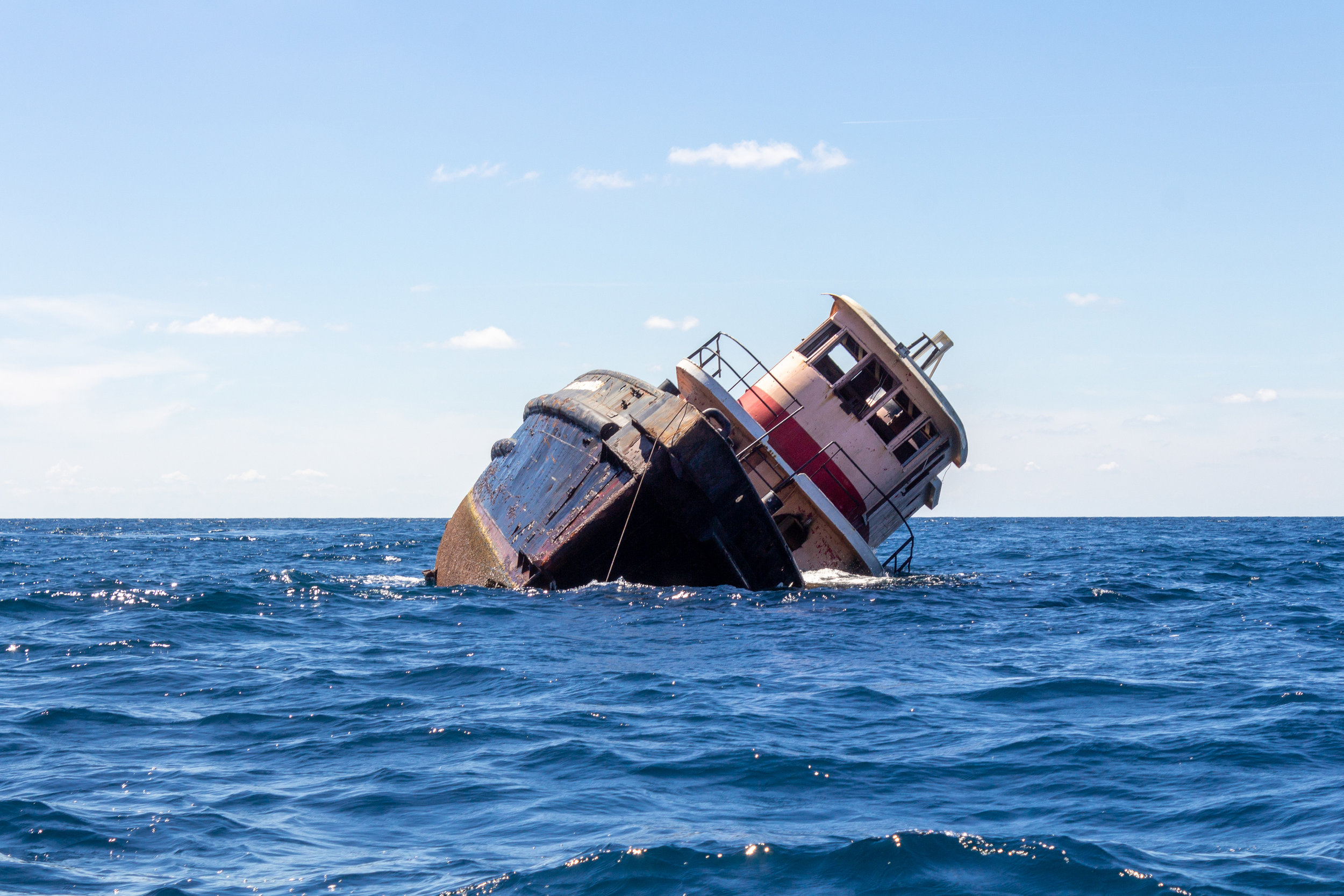 Recently, SCDNR's artificial reef team sunk an old tug boat at Vermilion Reef, 30 miles off the coast of Georgetown. (Photo: Emma Berry/SCDNR)