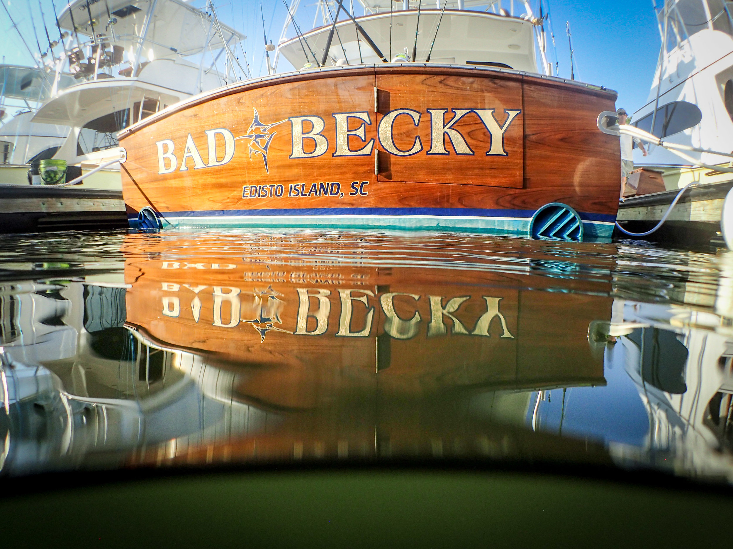 Bad Becky showing off her new transom_credit Cameron J Rhodes & SC Governor's Cup (2).jpg