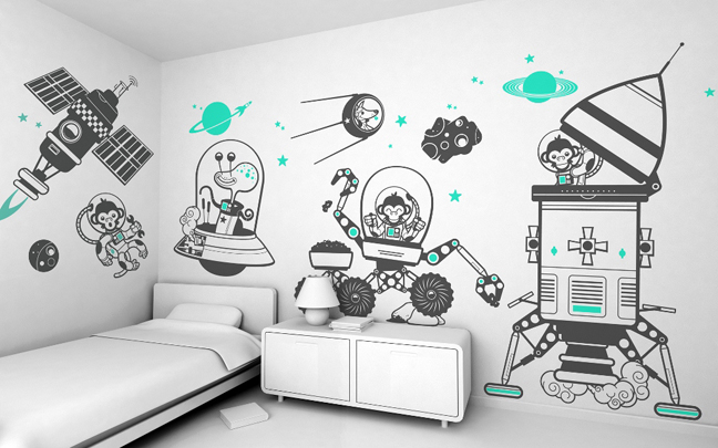 white-painting-and-space-atmosphere-with-alien-spaceship-planets-and-monkey-astronouts-wall-decals-for-kids-rooms