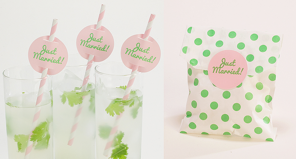 Custom round drink tags and custom stickers for bags
