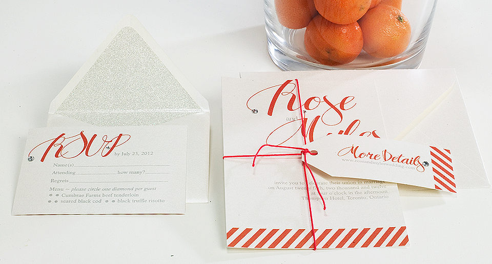 Wedding Invitation with tangerine sting and custom tag