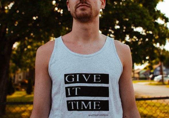Give It Time Tank   Crest & Trough Co.    Show off your muscles and get some new tan lines.  $21.95  From the poem ' Other ' off the EP ' Welcome to the Other Side '