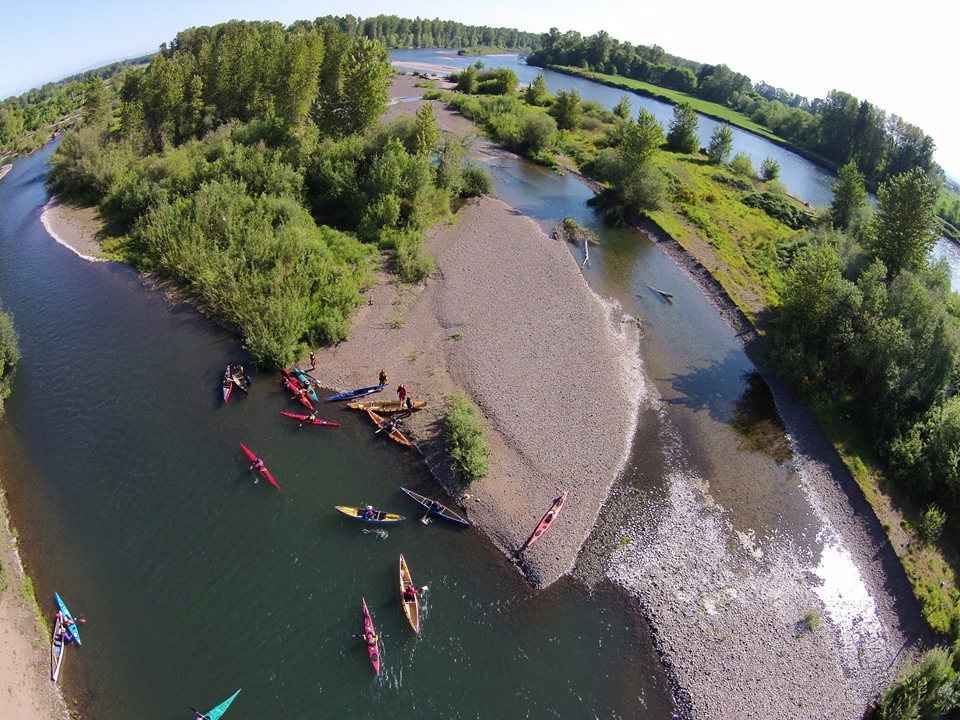 Aerial view of DSL Island a few miles downstream of Eugene.