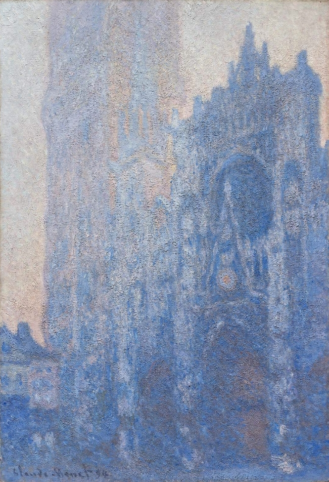 (L) Monet, Rouen Cathedral Façade and Tour d'Albane (Morning Effect) (1894)  Oil on canvas. 41 3/4 in. (106.1 cm) x 29 1/8 in. (73.9 cm). Located at the  Museum of Fine Arts, Boston .