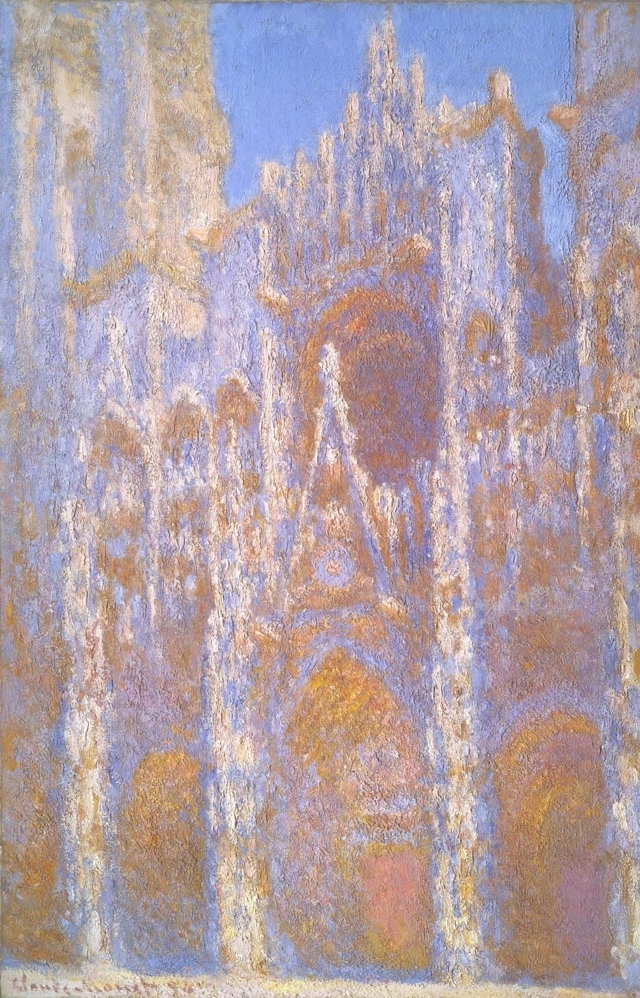 (R) Monet, Rouen Cathedral, Façade (1894)  Oil on canvas. 39 5/8 in. (100.6 cm) x 26 in. (66 cm). Located at the  Museum of Fine Arts, Boston .
