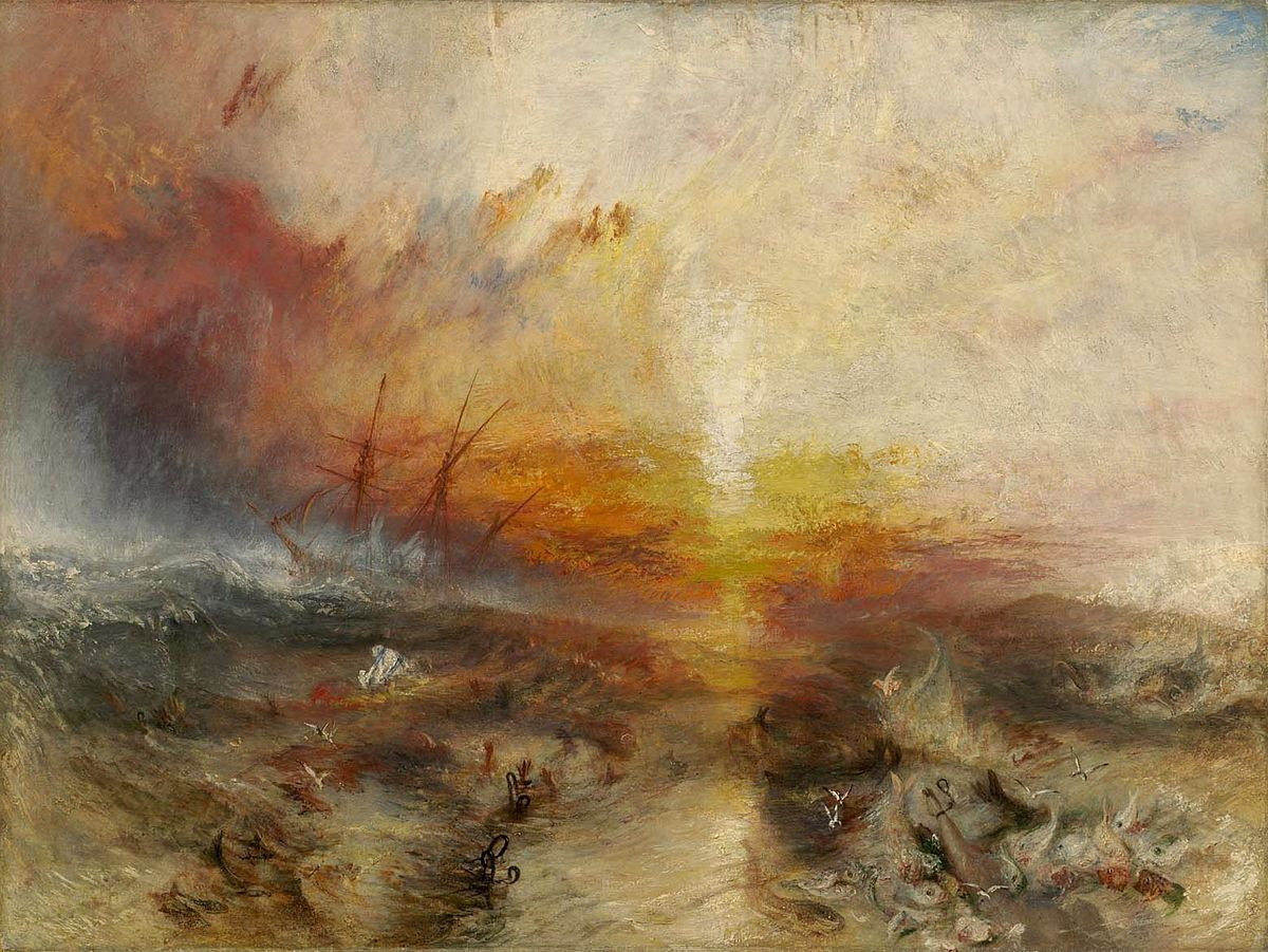 """JMW Turner, """"The Slave Ship (Slavers Throwing Overboard the Dead and Dying, Typhoon Coming On)"""" (1840)"""