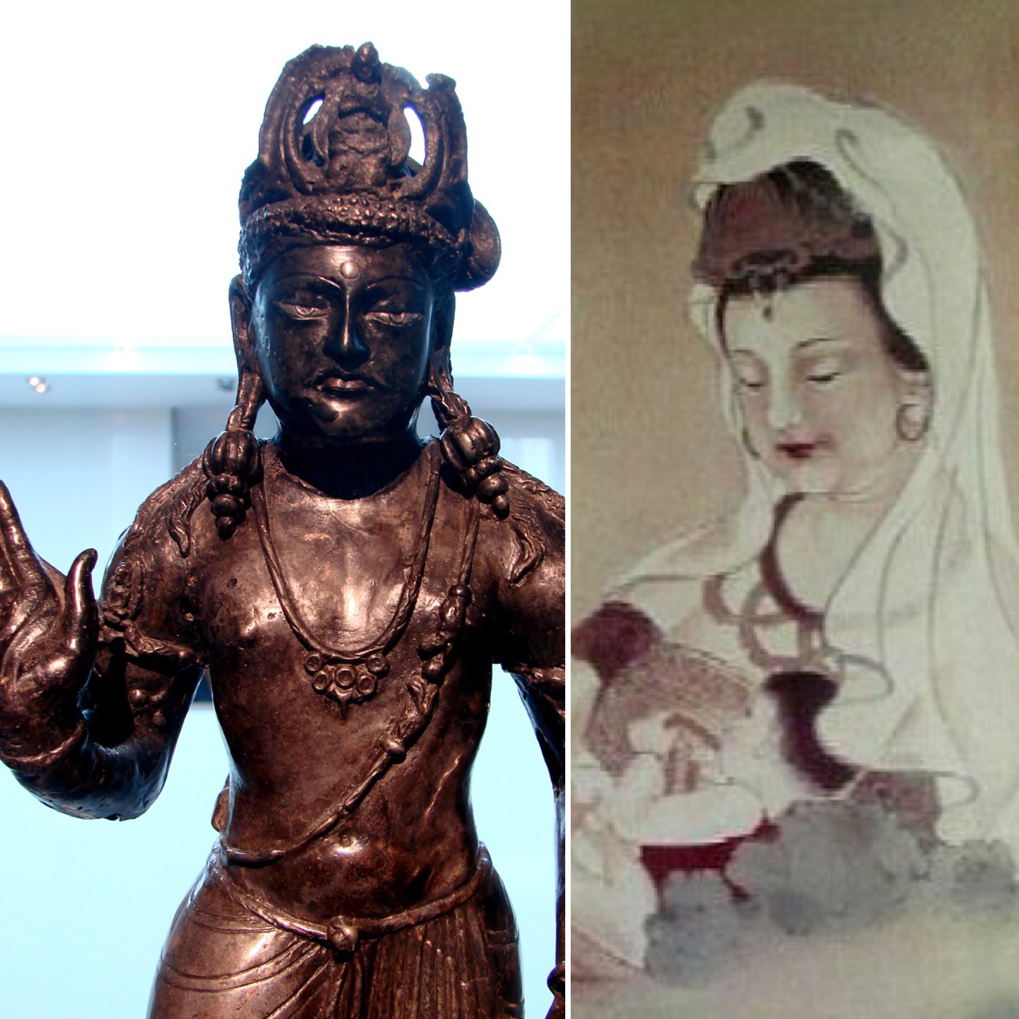 An example of the Guanyin's gender fluidity. On the left, a Guanyin from 3rd c. sculpture from India, looking pretty darn male. On the right, a modern Chinese portrait that might as well be the Madonna and child.