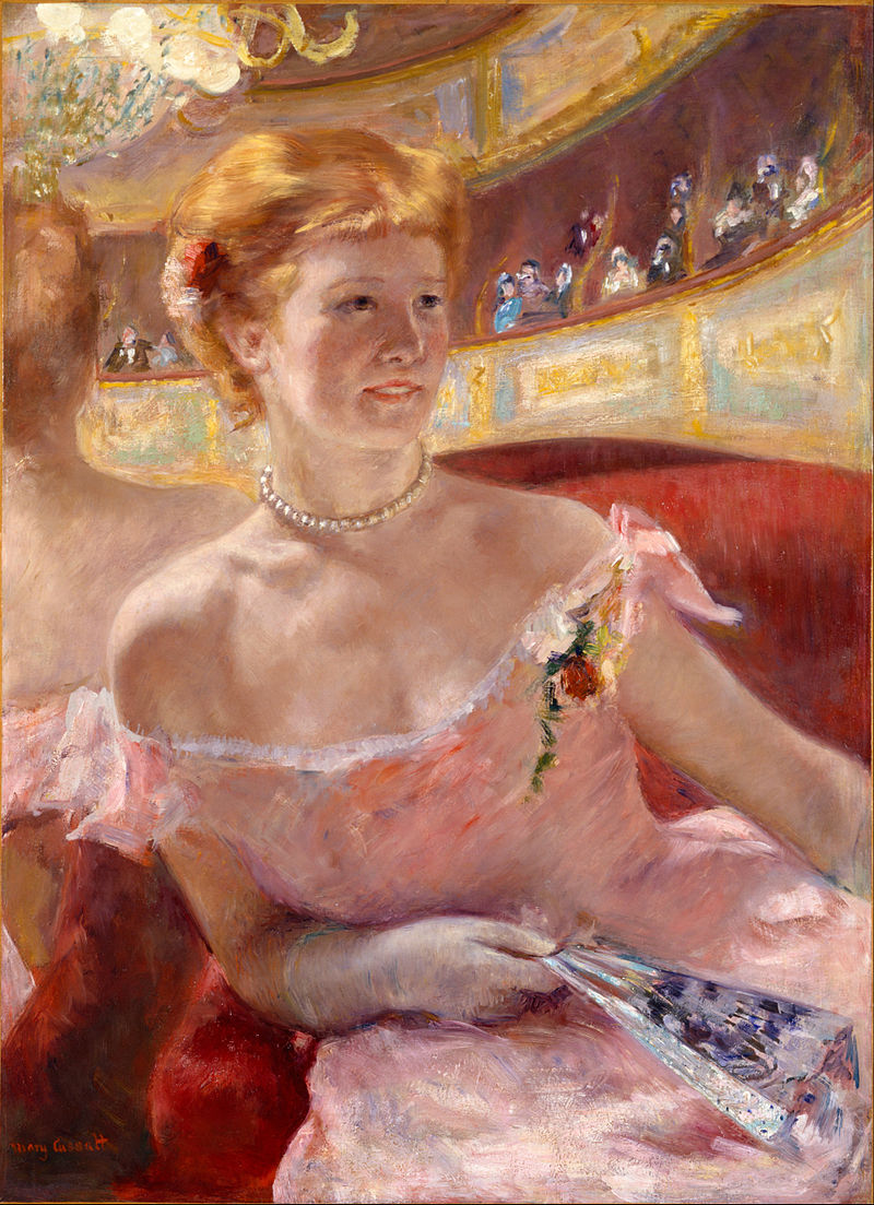 "Mary Cassatt, ""Woman with a Pearl Necklace in the Loge"" (1879)"
