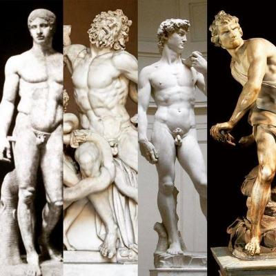 "L-R: ""Spear Bearer"" (c.450-440 BCE); ""Laocoon and his Sons"" (c. 1st c. CE); Michelangelo's ""David"" (1501-4); Bernini's ""David"" (1623-24)"