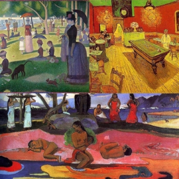 """Clockwise: Seurat, """"Sunday Afternoon on the Island of Grand Jatte"""" (1884); Van Gogh, """"The Night Cafe"""" (1888); Gauguin, """"Day of the God"""" (1894)"""