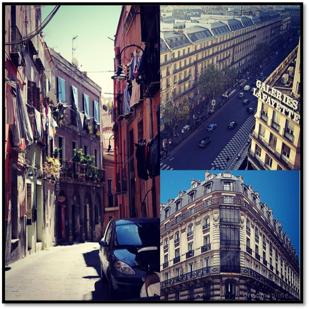The narrow alleys of Venice compared to the Haussmannized Paris of today.