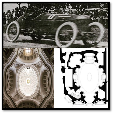 Ovalpalooza! Oval wheels in motion, and therefore an easy visual shorthand for dynamism. In the meantime, the dimensions of the floor and ceiling of San Carlo really ARE the same, Serra, really!