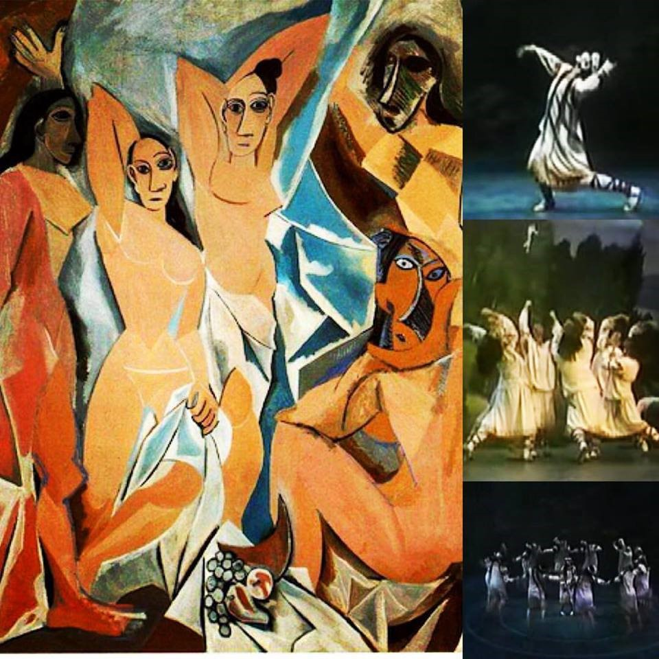 """Picasso's """"Demoiselles D'Avignon"""" (1907) and stills from the revival of Stravinsky's """"The Rite of Spring"""" by the Joffrey Ballet Co. (1987)"""