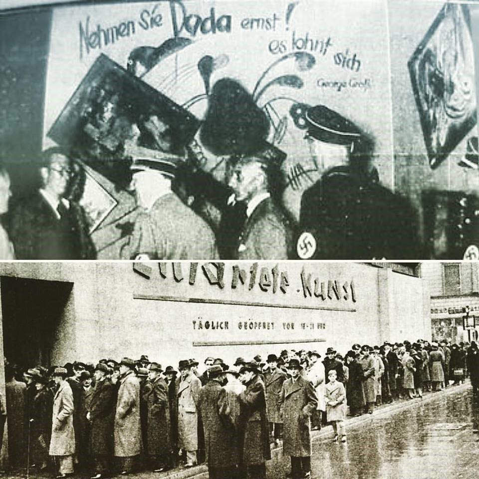 Above: Hitler being led around the Entartete Kunst exhibition. Below: throngs of visitors waiting to get inside. (1937)