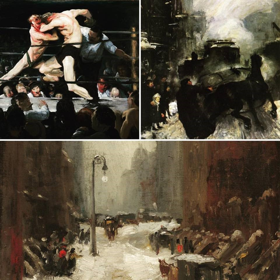 """The Ashcan School. Clockwise: George Bellows, """"Stag at Sharkey's"""" (1909), """"Steaming Streets"""" (1908), and Robert Henri, """"Snow in New York"""" (1902)."""