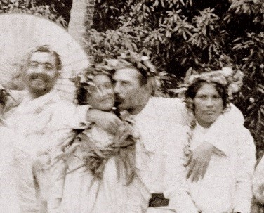 Photograph of Gauguin and his Tahitian muses.