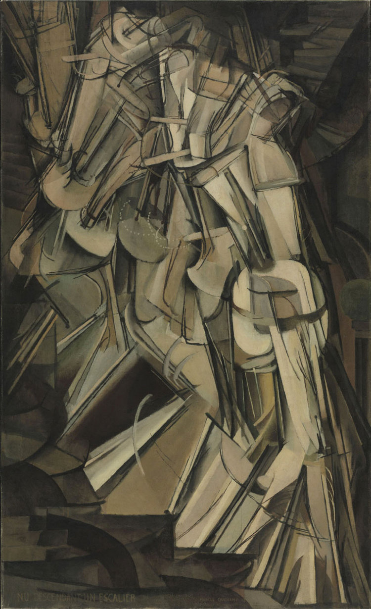 "Marcel Duchamp, ""Nude Descending a Staircase No. 2"" (1912). Oil on canvas. 57 7/8 in. (147 cm) x 35 1/8 in. (89.2 cm). Located at the  Philadelphia Museum of Art ."