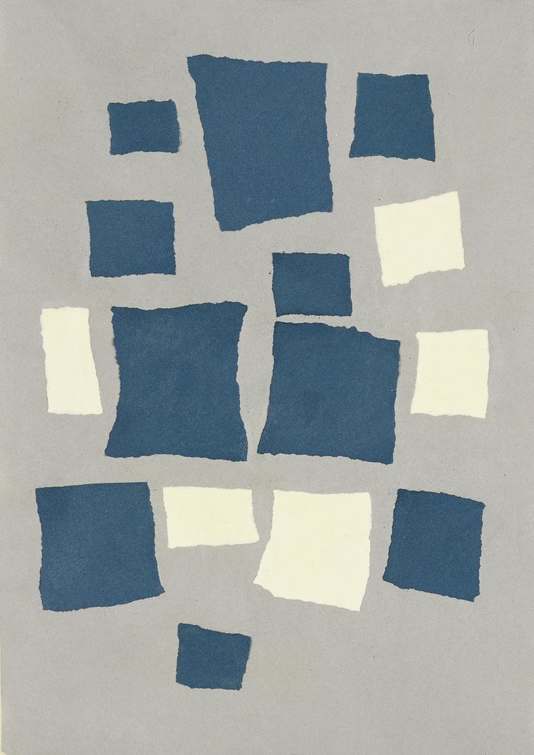 "Jean Arp, ""Untitled (Collage with Squares Arranged According to the Laws of Chance)"" (1917). Torn-and-pasted paper and colored paper on colored paper. 19 1/8 in. (48.5cm) x 13 5/8 in. (34.6 cm). Located at  MoMA ."