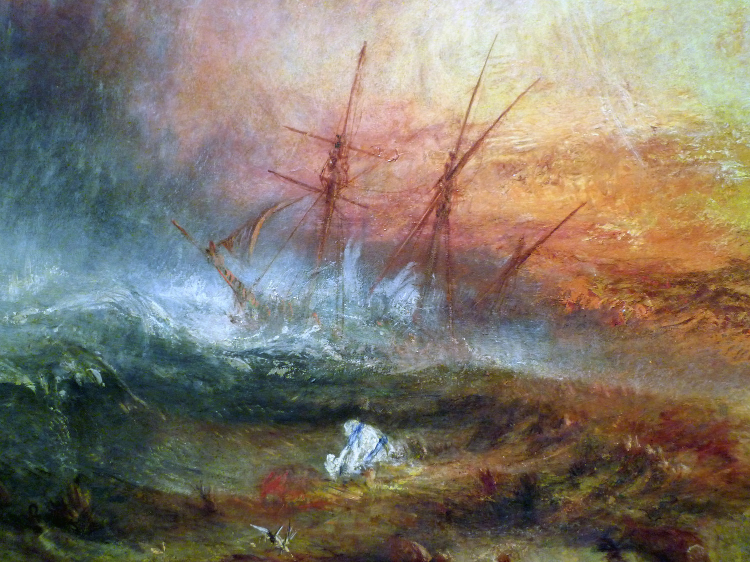 """JMW Turner, """"Slave Ship (Slavers Throwing Overboard the Dead and Dying, Typhoon Coming On)"""" (1840). Oil on canvas. 35 3/4 in (90.8 cm) x 48 1/4in. Located at the  Museum of Fine Arts, Boston."""