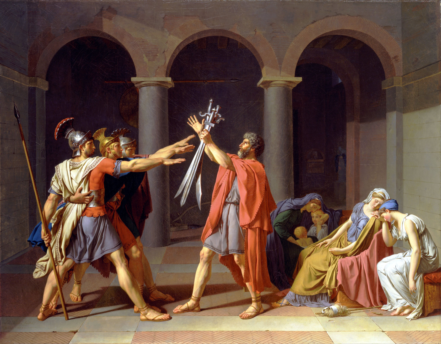 """Jacques-Louis David, """"Oath of the Horatii"""" (1784). Oil on canvas. 10.8 ft. (3.30 m) x 13.9 ft. (4.25 m). Located at the  Louvre ."""