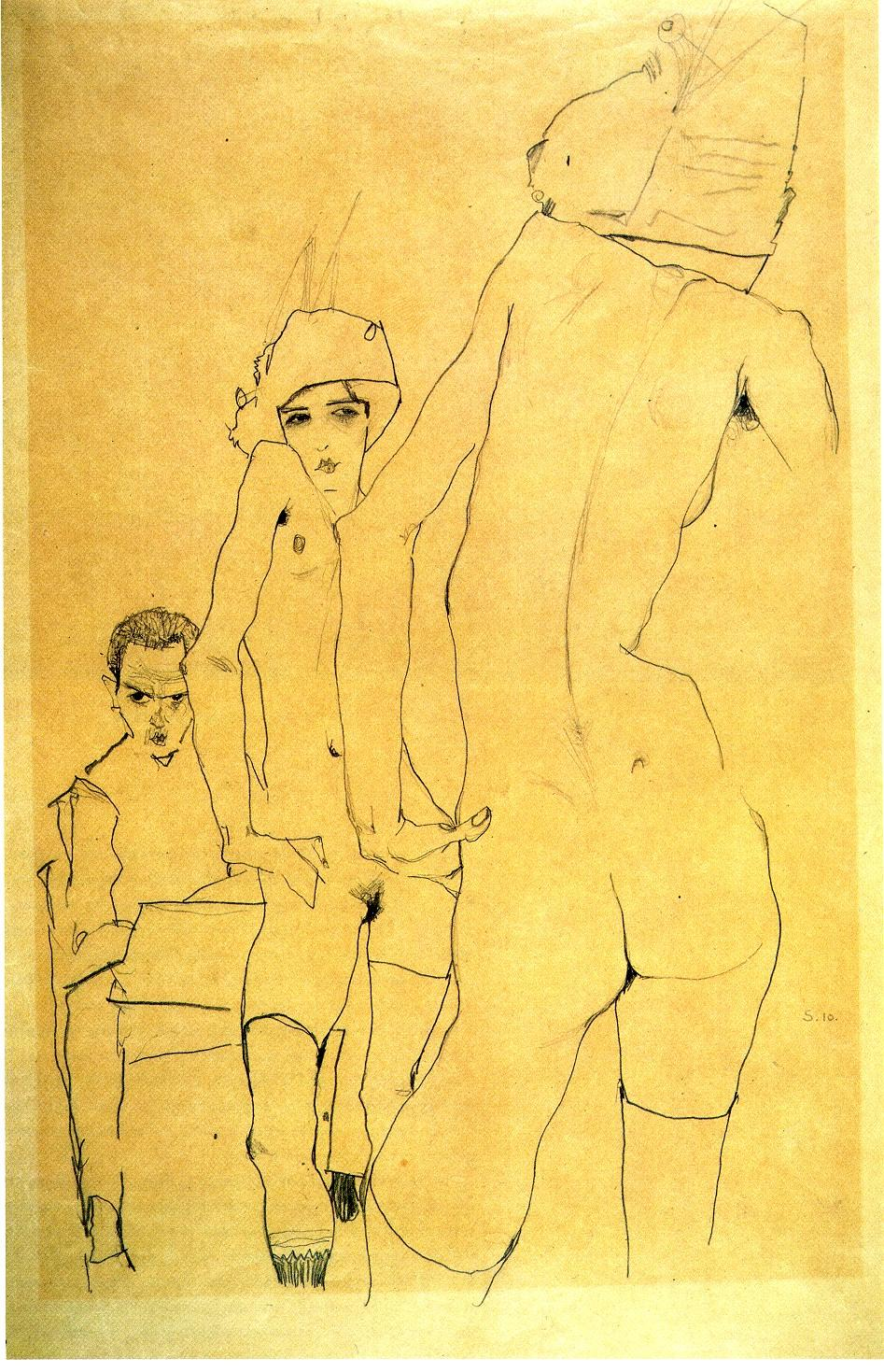 """Egon Schiele, """"Self-Portrait with a Model in Front of a Mirror"""" (1911)"""